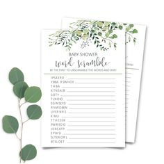 Printable Greenery Baby Shower Word Scramble, Eucalyptus Baby Shower Word Scramble Game, Botanic Baby Shower Word Scramble INSTANT DOWNLOAD