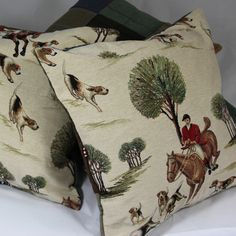 NEW Tweed Cushions with Hounds & Horses from the dapper English eccentric Timothy Foxx #british