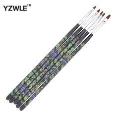 YZWLE 5Pcs/Pack UV Gel Acrylic Nail Art Brush Painting Marbleizing Pen Dotting Tool Set Manicure Nails Builder Liner Design