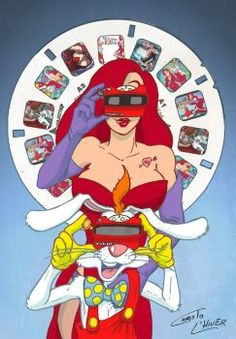 Roger and Jessica Rabbit with View-Master by Christo-LHiver on DeviantArt Who Censored Roger Rabbit, Jessica Rabbit Halloween, Jessica And Roger Rabbit, Jessica Rabit, Touchstone Pictures, Heart Sketch, View Master, Rabbit Art, Cartoon Characters