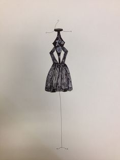 Little Black Dress With Silver Embroidery  Fashion Design by Tiffany Rose Monahan