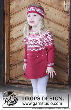 Visby Tunic / DROPS Children - Set consists of: Tunic for kids with round yoke, multi-coloured Norwegian pattern and A-shape, knitted top down. Head band with multi-coloured Norwegian pattern. Size 2 - 12 years Set is knitted in DROPS Merino Extra Fine. Crochet Mittens Free Pattern, Crochet Socks, Knitting Patterns Free, Free Knitting, Baby Knitting, Knit Crochet, Crochet Patterns, Crochet Doilies, Drops Design