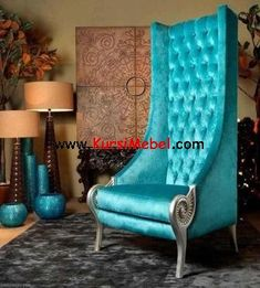 Looking for a unique, luxury eclectic high back chair? How about this majestic turquoise throne Troyano by Collection Alexandra? Part of the new gorgeous interiors collection by the Spanish. Turquoise Chair, Turquoise Home Decor, Turquoise Decorations, Turquoise Furniture, Turquoise Accents, Room Decorations, Funky Furniture, Unique Furniture, Furniture Design