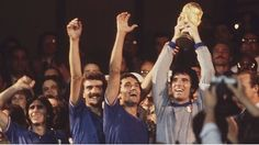 Italy's captain Dino Zoff holds the 1982 World Cup .... Get your FREE DOWNLOAD of the SportsQuest app at www.sportsquestapp.com @SportsQuestApp