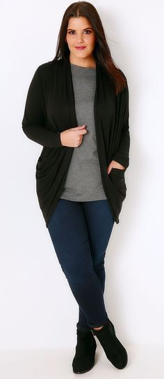 Plus Size Black Jersey Cardigan