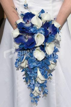 Top 3 Love the shape/ size of flowers & flow of this piece. Ivory Lily & Blue Delphinium Vanda Orchid Bridal Wedding Bouquet - Silk blooms.co.uk