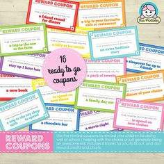 Printable reward vouchers / coupons for the kids. Includes blank coupons and also reward credits and charts. https://www.etsy.com/uk/listing/180751469/childrens-reward-coupons-reward-credits