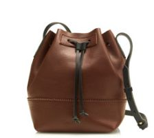 Chocolate Brown Leather Bucket Bag