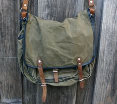 Vintage 1960's Army Officer Canvas Messenger Bag