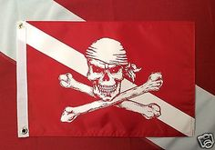 """Pirate flag Diver Down Red 12x18"""" atv boat spearfish scuba dive equip #520 GIFT - http://scuba.megainfohouse.com/pirate-flag-diver-down-red-12x18-atv-boat-spearfish-scuba-dive-equip-520-gift/"""