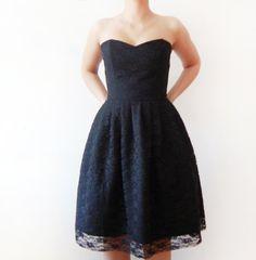 Little Black Dress - Black Lace and Cotton - bridesmaid dress, little black lace dress, bridesmaids dress, black party dress - boned dress