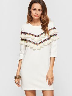 Shop White 3/4 Sleeve Dress With Embroidered Tape And Tassel Detail online. SheIn offers White 3/4 Sleeve Dress With Embroidered Tape And Tassel Detail & more to fit your fashionable needs.