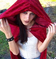 Sanguine Red Velvet Cloak/ Cape with Hood  also in by ZenWench, $75.00