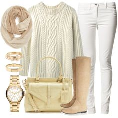 """Fall Style: Nude & White"" by rusinn on Polyvore"