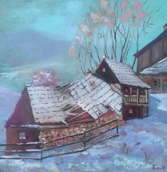 """""""Old house"""" Oil on canvas. Size 60*60cm"""