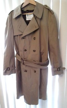 London Fog Maincoats Men's XL Belted Tan Beige Trench Coat with Zip Out Liner #LondonFog #Trench