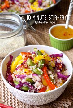 10 Minute Leftover Veggie Stir-Fry by @PlantStrongVeg