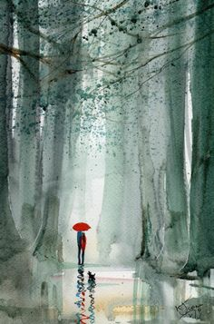 Original Signed Watercolour Painting ~ Forest Rain ~ By KJ CARR