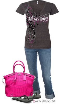 """Saw these tshirts at the sport show this year!  Love these.  """"Pink Rack Project"""" by fluffof5 on Polyvore"""