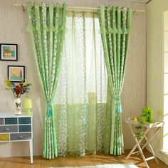 RusticPastoral Floral Green Curtains for Living RoomBedroom Window Curtains Lace and Sequins Curtain+Green Voile (2)