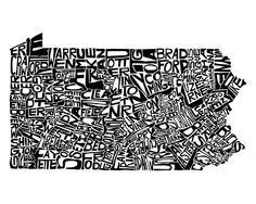 LOVE THIS - Pennsylvania  typography map art print  customizable 8x10 by CAPow, $25.00