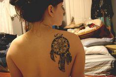 dreamcatcher tattoo, cool back tattoo, inked