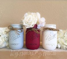 Red/Burgundy Gray and White Home Decor, Rustic Home Decor, Burgundy Bedroom, Painted Mason Jars, Wedding Centerpieces, Table Decor, Vases by MyHeartByHand on Etsy