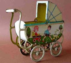 "tin toys made in germany | Unbekannt Tin-Toys Pram ""Made in Germany "", Historytoy"