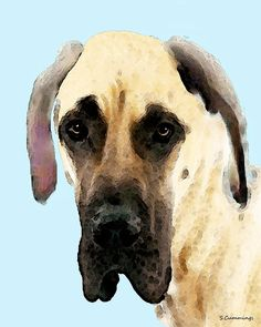 Fawn Great Dane Dog Art Painting by Sharon Cummings