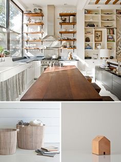 Cute dog. Open shelving if you don't mind the items on the top shelf becoming covered with 'gunk' very quickly. Must be a chef here, knife rack is in the island. http://www.thebrooklynhomecompany.com/PortfolioProject.aspx?id=11