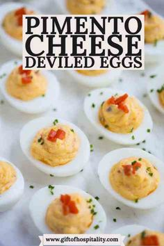Pimento Cheese Deviled Eggs are the perfect mixture of deviled eggs and spicy pimento cheese! Enjoy these for your next cookout appetizer or for a baby shower or bridal shower menu. Cookout Appetizers, Southern Appetizers, Holiday Appetizers, Appetizer Recipes, Devilled Eggs Recipe Best, Deviled Eggs Recipe, Egg Recipes, Gourmet Recipes, Easter Recipes