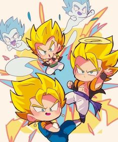 Fusões Chibi Goku, Anime Chibi, Kawaii Anime, Anime Art, Goten E Trunks, Gogeta And Vegito, Manga Dragon, Dragon Ball Gt, Fan Art