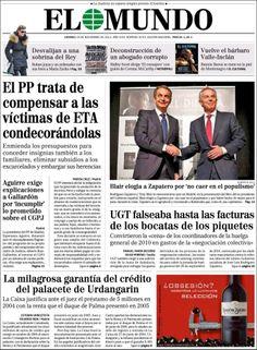 Los Titulares y Portadas de Noticias Destacadas Españolas del 29 de Noviembre de 2013 del Diario El Mundo ¿Que le pareció esta Portada de este Diario Español?