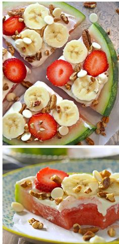 Banana Cheesecake Watermelon Pizza - great idea for kids #fruit #healthy