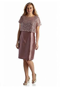 RM Richards Plus Size Shantung Sheath with Lace and Sequin Pullover