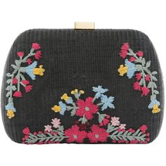 SERPUI Lolita Embroidered Black Clutch (98 BHD) ❤ liked on Polyvore featuring bags, handbags, clutches, black, flower print purse, straw handbags, chain strap purse, flower print handbags and floral clutches