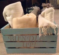 "Home decor/gift- shabby chic  ""Bundle Up"" turquoise basket for blankets and throws on Etsy, $29.00"
