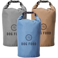 """Our+Travel+Food+Storage+Bag is+a+smart+solution+for+packing+dog+food+for+an+overnight+or+weekend+trip.+The+12""""h+x+5.5""""+diameter+holds+12+cups+of+dog+food.+This+durable+bag+is+made+from+100%+recycled+materials+and+features+a+waterproof+lining.+Available+in+three+colors:+grey,+blue+and+brown. *+*+Font+is+capitalized.*+Up+to+8+characters+(including+spaces).* Allow+up+to 14+business+days for+embroidery.*+Personalization+is+a+final-sale+item.*Thread+color+matches+item+color,+..."""