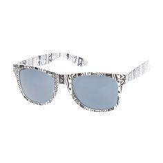 White and Black Aztec Print Sunglasses | Claire's