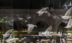 As part of a royal event in Abu Dhabi, Italian artist Edoardo Tresoldi (previously) was tasked with the creation an immense environment of architectural elements built from wire. The variety of objects fully encompass the event space, creating elegant partitions and environments within the 7,000 squ