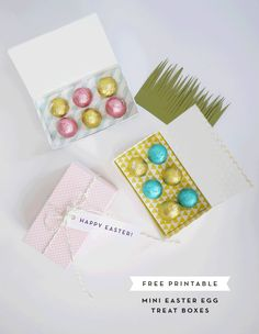 printable mini easter egg treat boxes / alix sorrell for oh happy day Hoppy Easter, Easter Eggs, Easter Bunny, Easter Food, Chocolates, Diy Osterschmuck, Diy Easter Decorations, Easter Printables, Templates Printable Free
