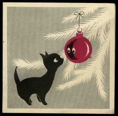 Vintage 1940-1960's Christmas Card Black Cat looking at Xmas Tree Bauble Kitten (11/07/2012)