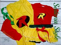 Girls Robin Costume, Superhero Costumes, Kids Capes, Halloween, Bloomers