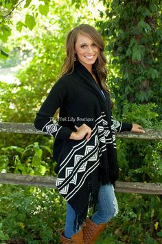 The Pink Lily Boutique - Let It Flow Black Fringe Cardigan , $42.00 (http://thepinklilyboutique.com/let-it-flow-black-fringe-cardigan/)