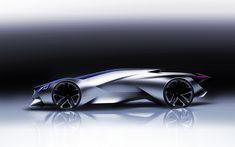 the 'peugeot vision gran turismo' concept reveals a dramatic silhouette - concept cars Peugeot, Car Design Sketch, Car Sketch, Design Cars, Bike Design, Futuristic Cars, Futuristic Design, Mercedes Concept, Mercedes Benz