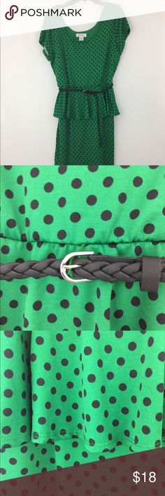 NWOT Plus Size Polka Dot Dress Polka dot dress. Belt included. Elastic underneath the belt. Has inside lining. 95% Polyester 5% Spandex. Lining: 100% Polyester. Dresses