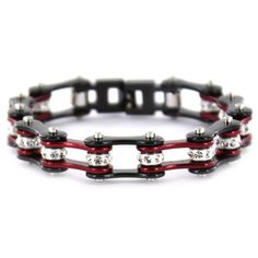 Candy Red & Black Bike Chain Bracelet with Crystals