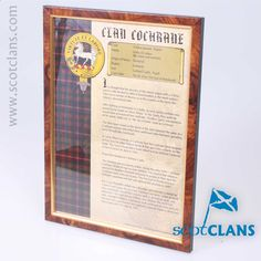 Cochrane Clan History Print. Free Worldwide Shipping Available