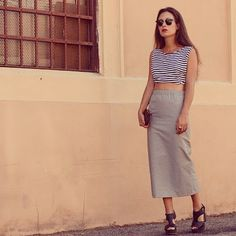 Striped Crop Top and long Skirt!