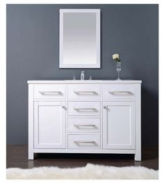 "KBHardware | 48"" Milan Vanity Cabinet Set with Single Sinks and Marble Top"